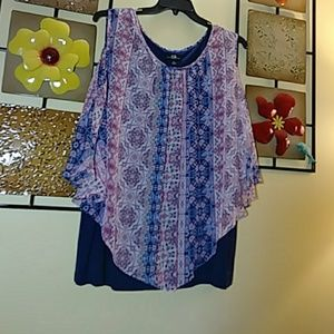 Tops - AGB Woman navy tank with connected multi overlay